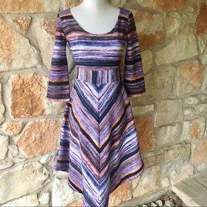 Anthropologie Maeve Striped Long Sleeve Dress
